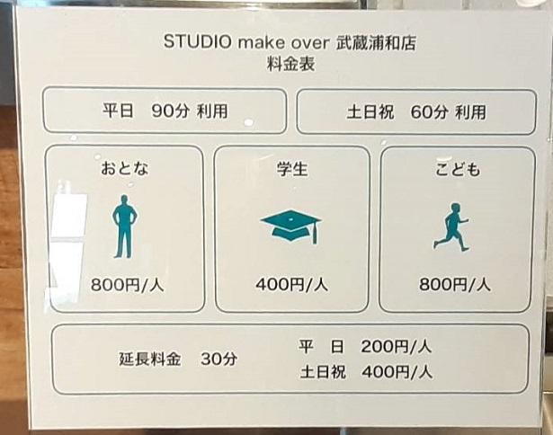 スタジオメイクオーバー料金